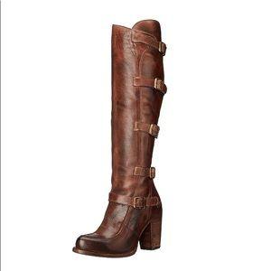 Bed Stu Statute Motorcycle Knee High Brown Boots